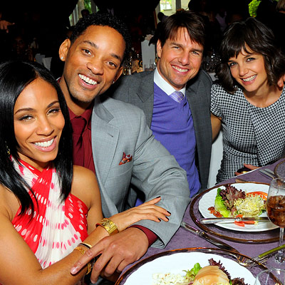 Jada Pinkett in Nina Ricci, Will Smith, Tom Cruise, Katie Holmes in Alexander McQueen, 2008 Oscar Pre-Parties